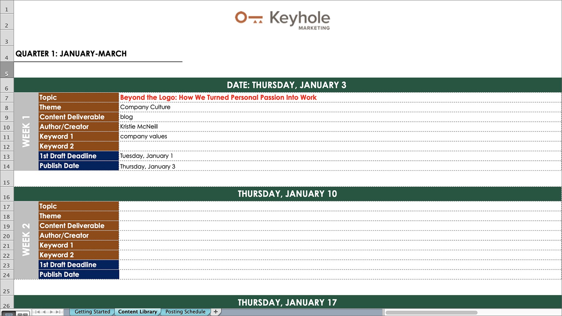 Keyhole Marketing - Content Calendar - Template